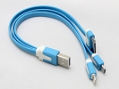 Cable - Blue 3 in 1 USB Charging Cable For iPhone iPad iPod iphone 6/6Plus ipad air ipad mini with Retina Display  Samsung Galaxy Smartphone Tablet